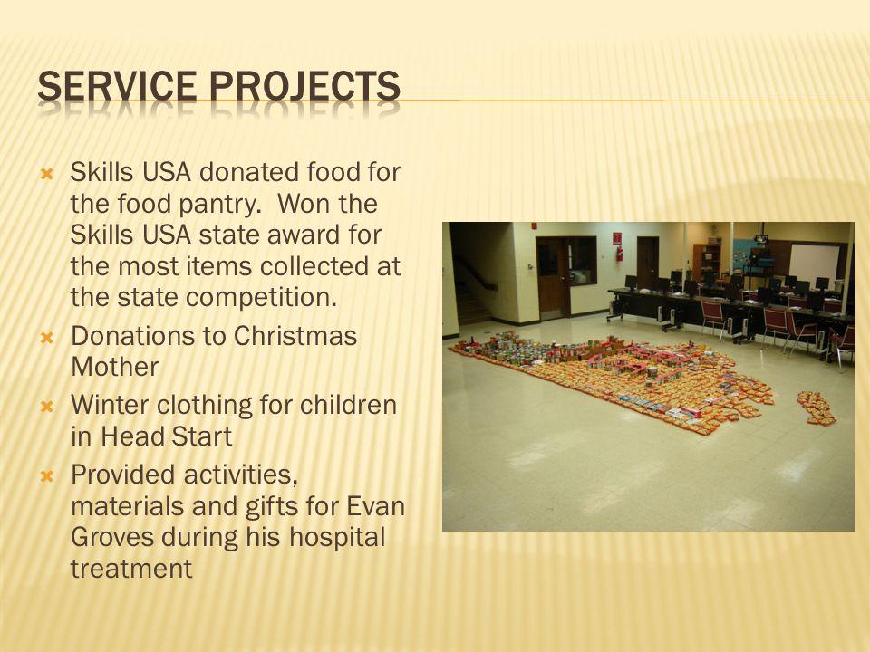 Skills USA donated food for the food pantry.