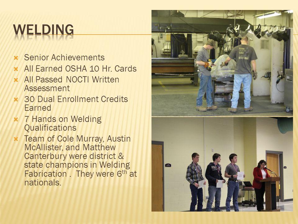 Senior Achievements All Earned OSHA 10 Hr.