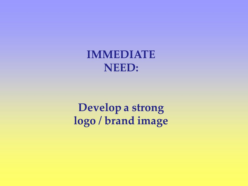 IMMEDIATE NEED: Develop a strong logo / brand image