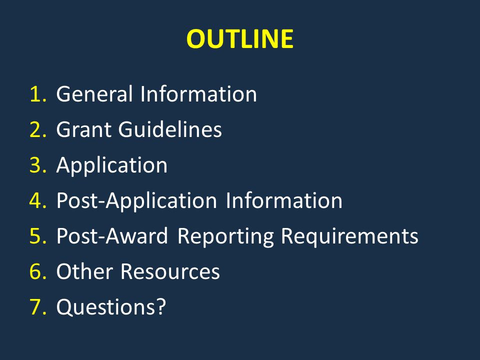 GRANT TIMELINE August 12: Post Solicitation & Open Funding Opportunity September 13: Applications Due in WebGrants October 29-30: Review Meeting November: Send Notifications If you are approved for funding: November: Application Revisions, if applicable December: Sign Contracts January 1: Contracts Begin (cannot order equipment before this date) June 30: Contracts End (equipment must be ordered by this date August 28: Equipment must be paid for September 10: Status Report must be submitted in WebGrants