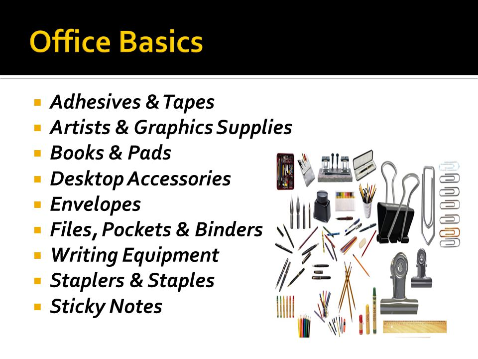 Adhesives & Tapes Artists & Graphics Supplies Books & Pads Desktop Accessories Envelopes Files, Pockets & Binders Writing Equipment Staplers & Staples Sticky Notes