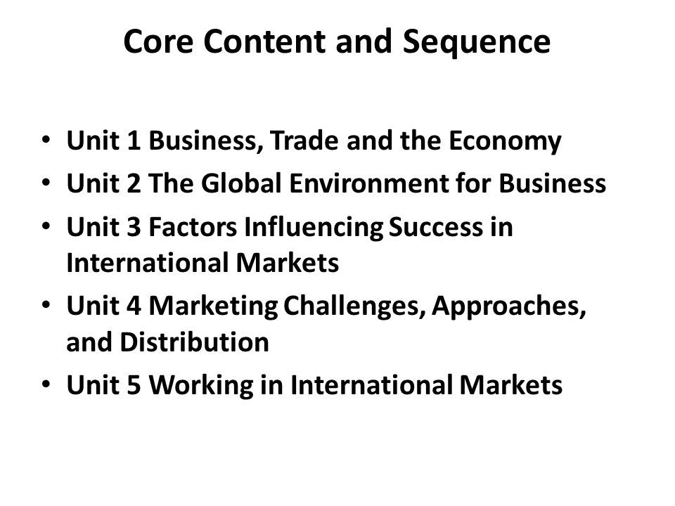 Chapter 1 International Interdependence 1.1Evolution of Global Trade – Self-Sufficiency – Early Trade – The First Trade Regulations – Exploration of the Americas