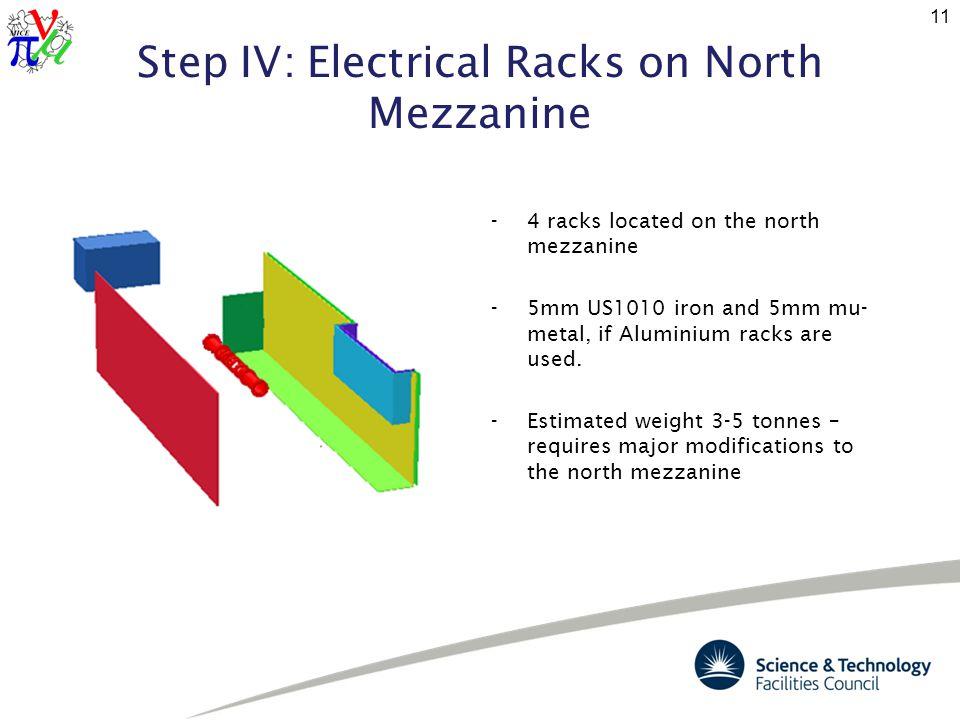Step IV: Electrical Racks on North Mezzanine 11 -4 racks located on the north mezzanine -5mm US1010 iron and 5mm mu- metal, if Aluminium racks are used.