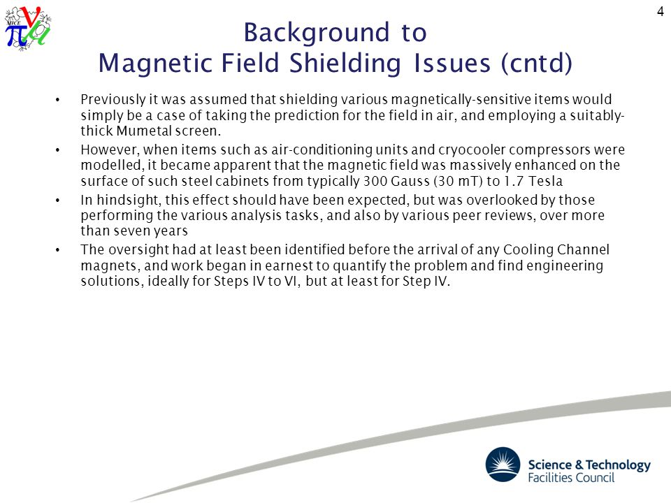 Background to Magnetic Field Shielding Issues (cntd) Previously it was assumed that shielding various magnetically-sensitive items would simply be a case of taking the prediction for the field in air, and employing a suitably- thick Mumetal screen.