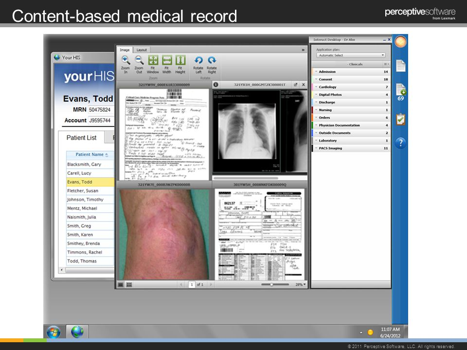 Content-based medical record © 2011 Perceptive Software, LLC. All rights reserved.