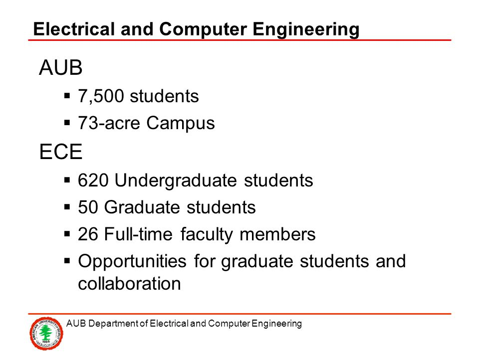 AUB Department of Electrical and Computer Engineering Electrical and Computer Engineering AUB 7,500 students 73-acre Campus ECE 620 Undergraduate students 50 Graduate students 26 Full-time faculty members Opportunities for graduate students and collaboration