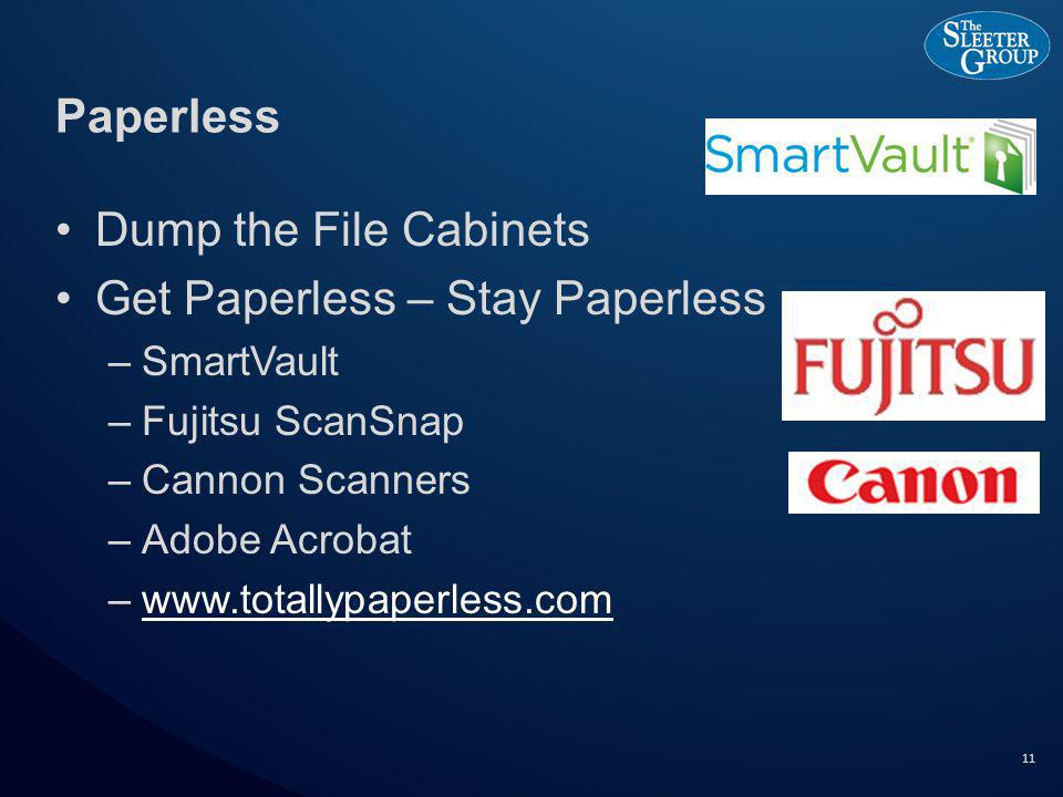 Paperless Dump the File Cabinets Get Paperless – Stay Paperless –SmartVault –Fujitsu ScanSnap –Cannon Scanners –Adobe Acrobat –www.totallypaperless.comwww.totallypaperless.com 11