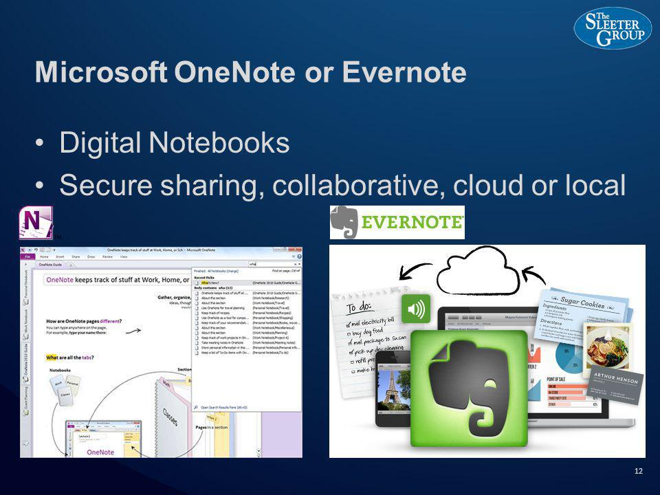 Microsoft OneNote or Evernote Digital Notebooks Secure sharing, collaborative, cloud or local 12