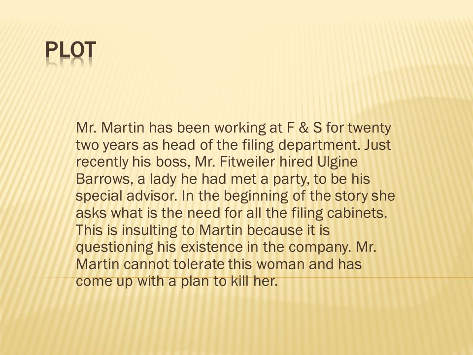 Mr.Martin has been working at F & S for twenty two years as head of the filing department.