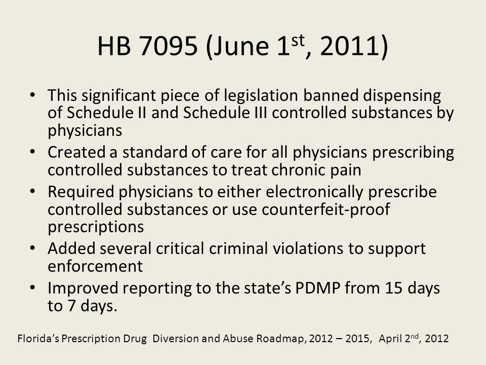 HB 7095 (June 1 st, 2011) This significant piece of legislation banned dispensing of Schedule II and Schedule III controlled substances by physicians Created a standard of care for all physicians prescribing controlled substances to treat chronic pain Required physicians to either electronically prescribe controlled substances or use counterfeit-proof prescriptions Added several critical criminal violations to support enforcement Improved reporting to the states PDMP from 15 days to 7 days.