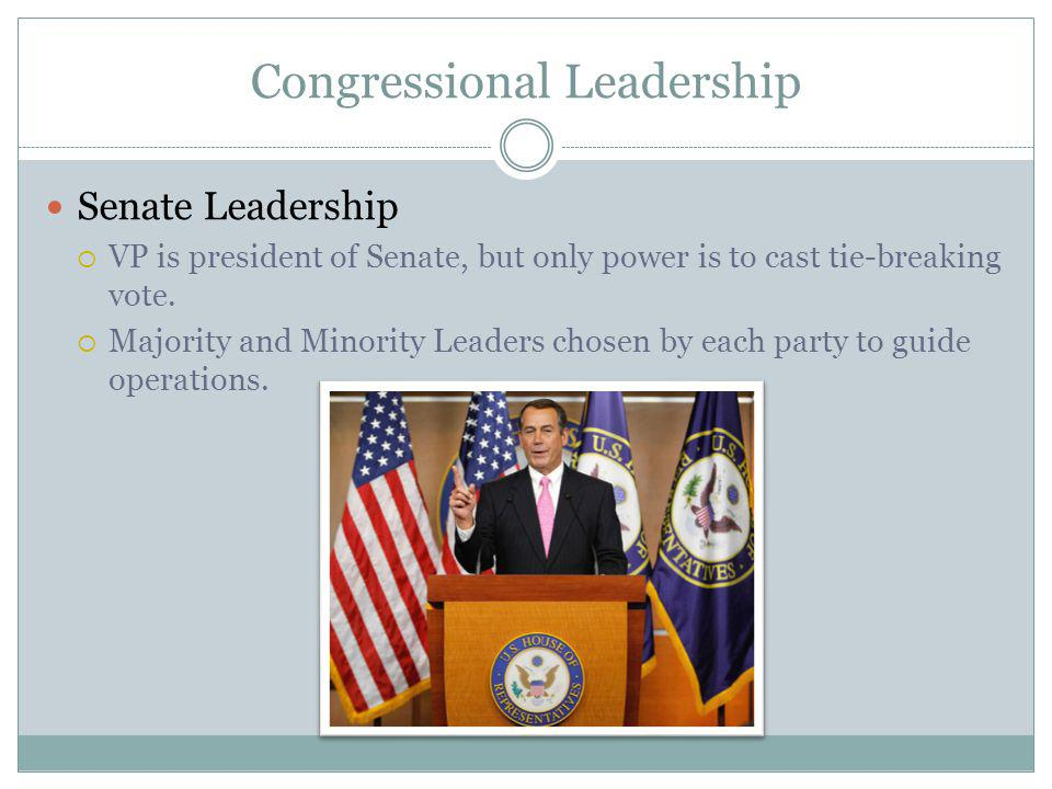 Congressional Leadership Senate Leadership VP is president of Senate, but only power is to cast tie-breaking vote.