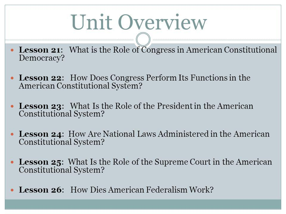 Unit Overview Lesson 21: What is the Role of Congress in American Constitutional Democracy.