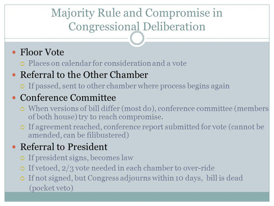 Majority Rule and Compromise in Congressional Deliberation Floor Vote Places on calendar for consideration and a vote Referral to the Other Chamber If passed, sent to other chamber where process begins again Conference Committee When versions of bill differ (most do), conference committee (members of both house) try to reach compromise.