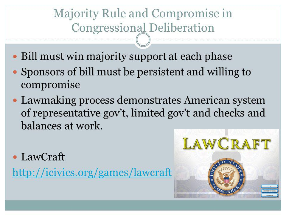 Majority Rule and Compromise in Congressional Deliberation Bill must win majority support at each phase Sponsors of bill must be persistent and willing to compromise Lawmaking process demonstrates American system of representative govt, limited govt and checks and balances at work.