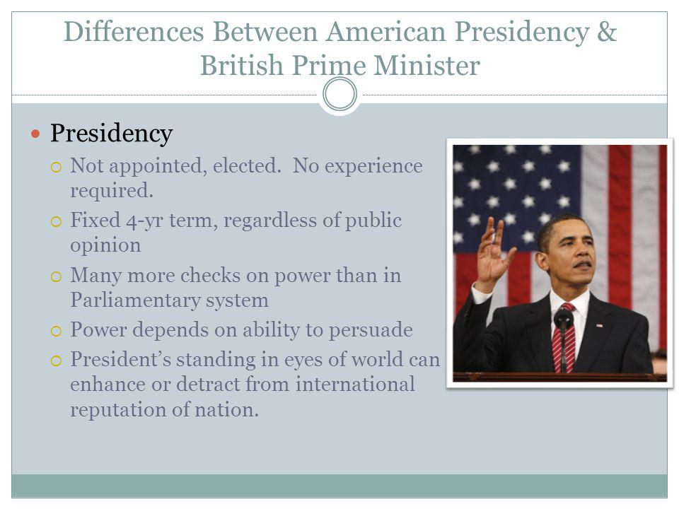 Differences Between American Presidency & British Prime Minister Presidency Not appointed, elected.