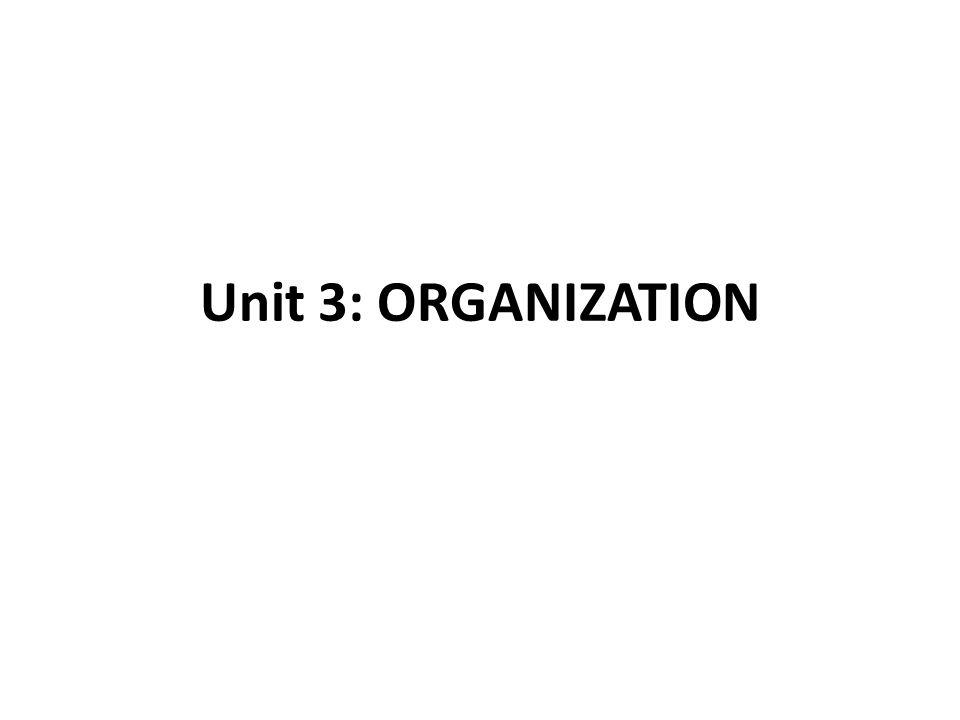 Unit 3: ORGANIZATION