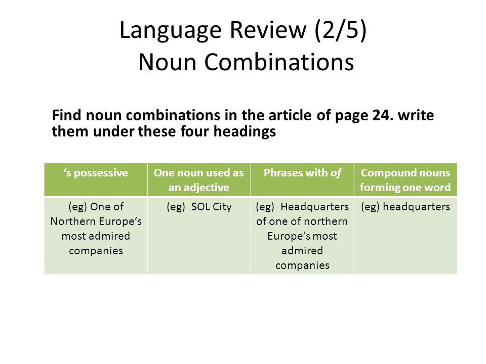 Language Review (2/5) Noun Combinations Find noun combinations in the article of page 24. write them under these four headings s possessiveOne noun us