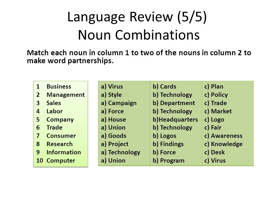 Language Review (5/5) Noun Combinations Match each noun in column 1 to two of the nouns in column 2 to make word partnerships. 1Business 2Management 3