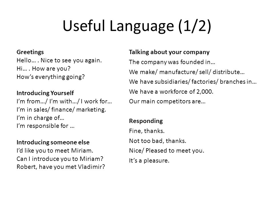 Useful Language (1/2) Greetings Hello…. Nice to see you again. Hi…. How are you? Hows everything going? Introducing Yourself Im from…/ Im with…/ I wor