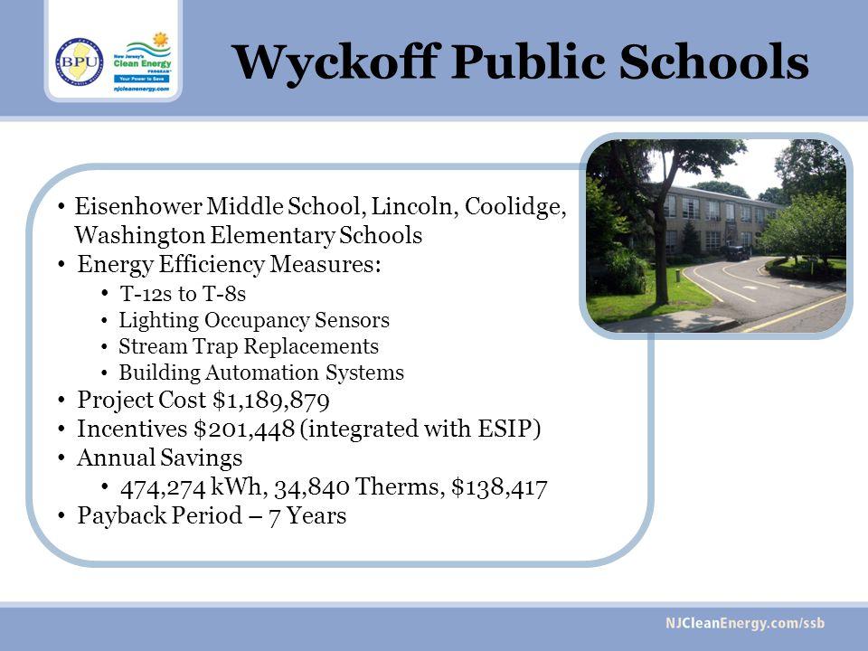 Eisenhower Middle School, Lincoln, Coolidge, Washington Elementary Schools Energy Efficiency Measures: T-12s to T-8s Lighting Occupancy Sensors Stream