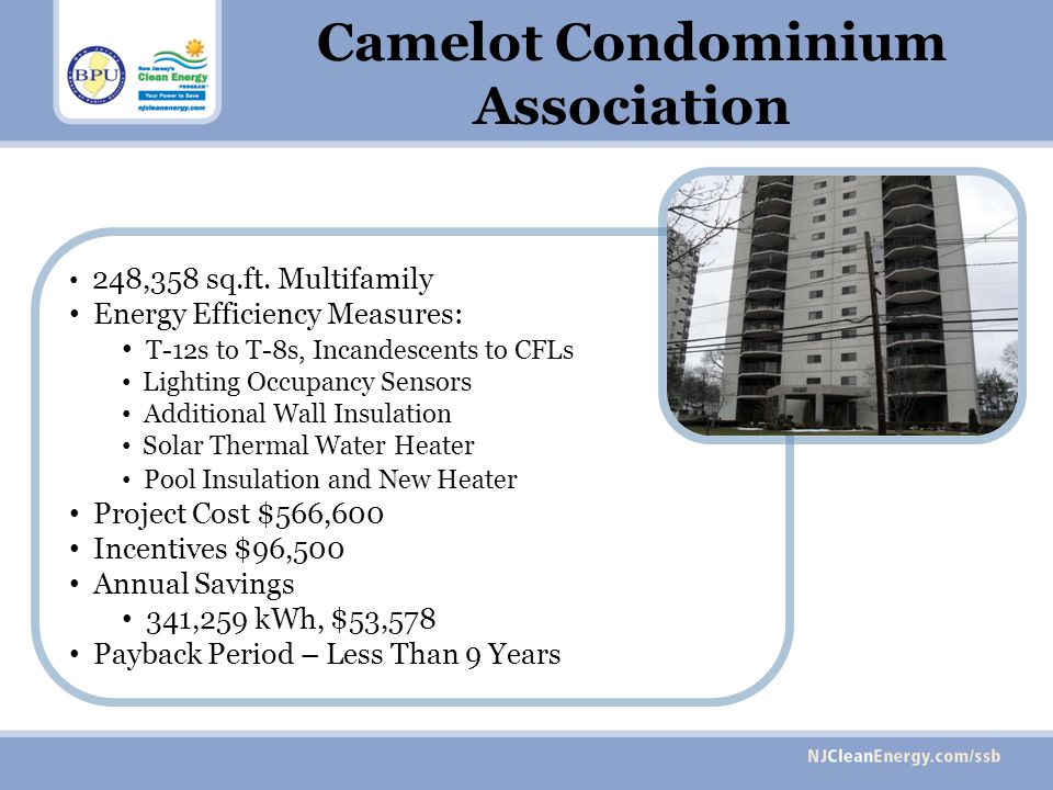 248,358 sq.ft. Multifamily Energy Efficiency Measures: T-12s to T-8s, Incandescents to CFLs Lighting Occupancy Sensors Additional Wall Insulation Sola