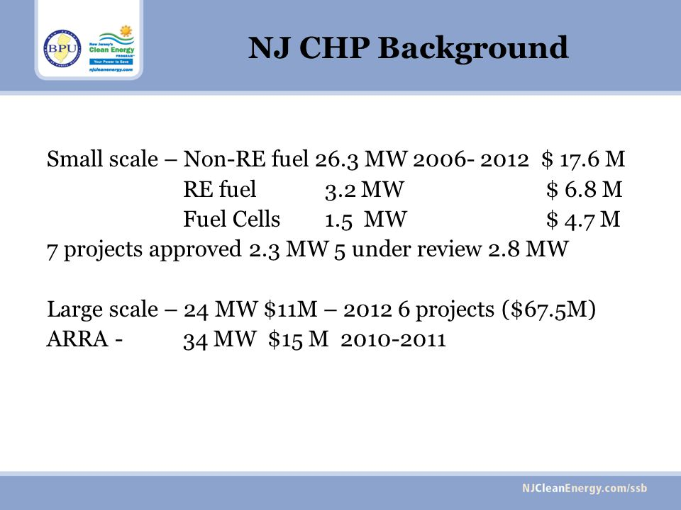 NJ CHP Background Small scale – Non-RE fuel 26.3 MW 2006- 2012 $ 17.6 M RE fuel 3.2 MW $ 6.8 M Fuel Cells 1.5 MW $ 4.7 M 7 projects approved 2.3 MW 5 under review 2.8 MW Large scale – 24 MW $11M – 2012 6 projects ($67.5M) ARRA - 34 MW $15 M 2010-2011