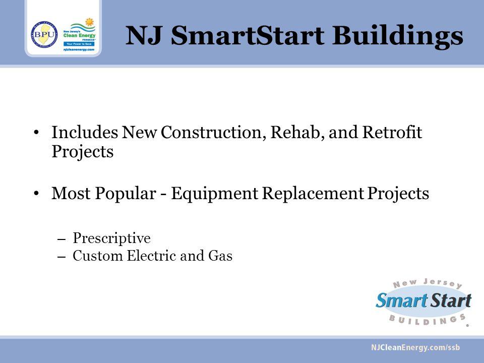 NJ SmartStart Buildings Includes New Construction, Rehab, and Retrofit Projects Most Popular - Equipment Replacement Projects – Prescriptive – Custom