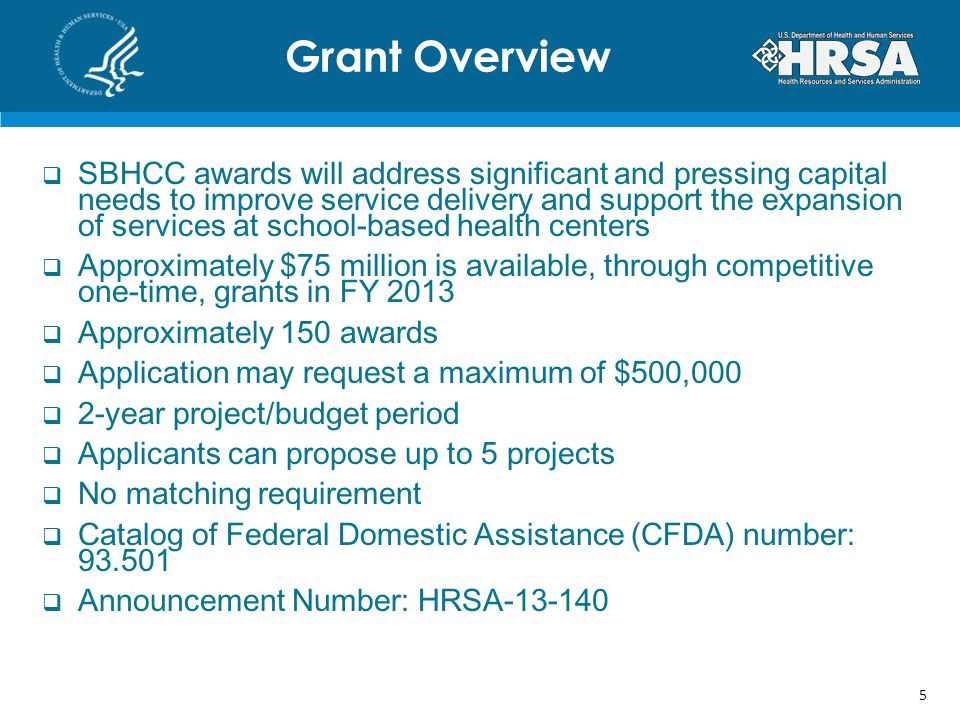 SBHCC awards will address significant and pressing capital needs to improve service delivery and support the expansion of services at school-based health centers Approximately $75 million is available, through competitive one-time, grants in FY 2013 Approximately 150 awards Application may request a maximum of $500,000 2-year project/budget period Applicants can propose up to 5 projects No matching requirement Catalog of Federal Domestic Assistance (CFDA) number: 93.501 Announcement Number: HRSA-13-140 Grant Overview 5