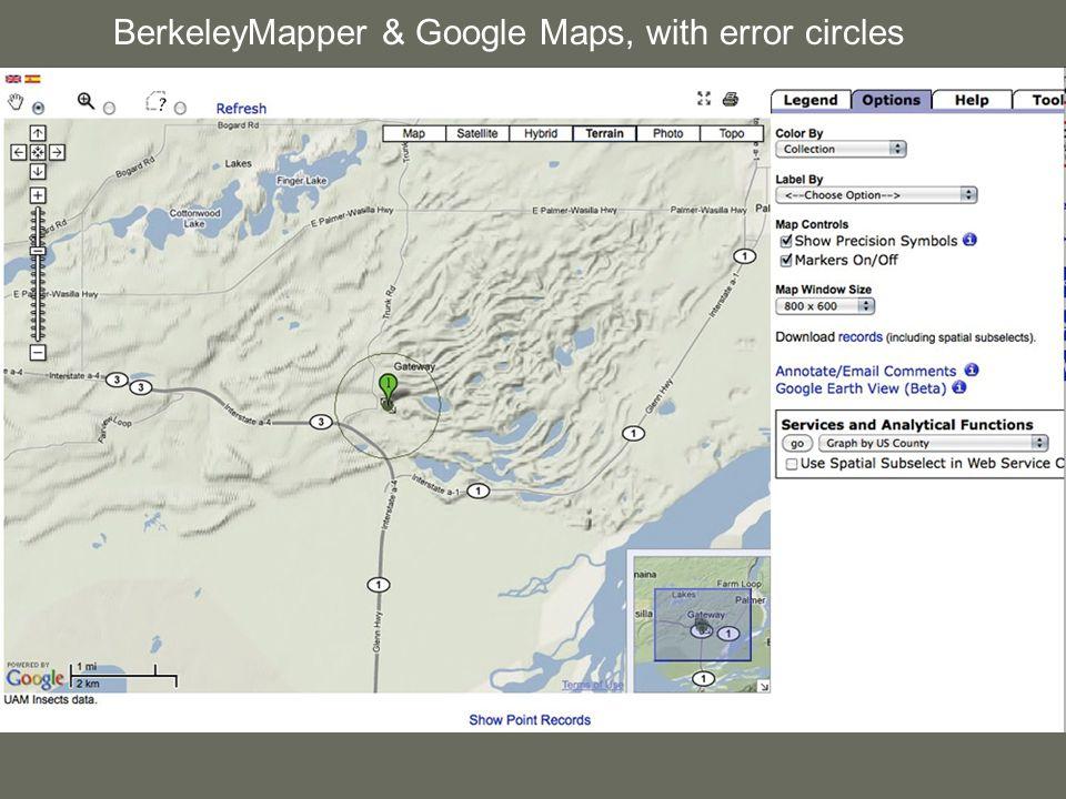 BerkeleyMapper & Google Maps, with error circles