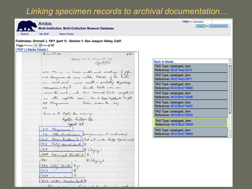Linking specimen records to archival documentation…