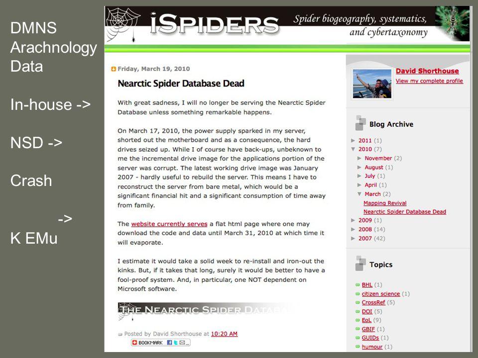 DMNS Arachnology Data In-house -> NSD -> Crash -> K EMu