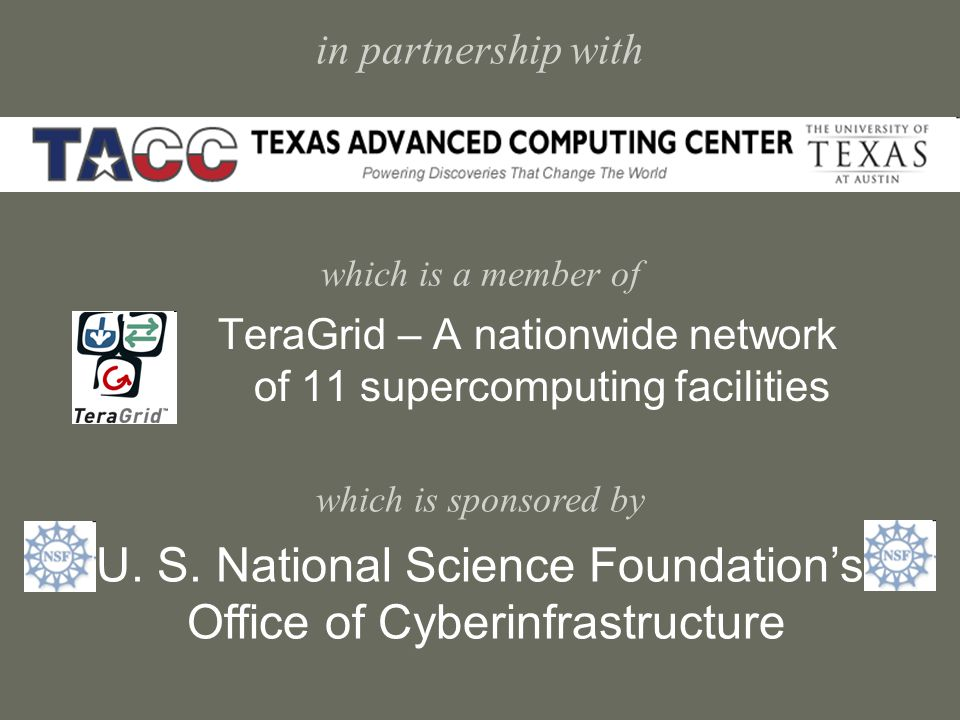 in partnership with which is a member of TeraGrid – A nationwide network of 11 supercomputing facilities U.