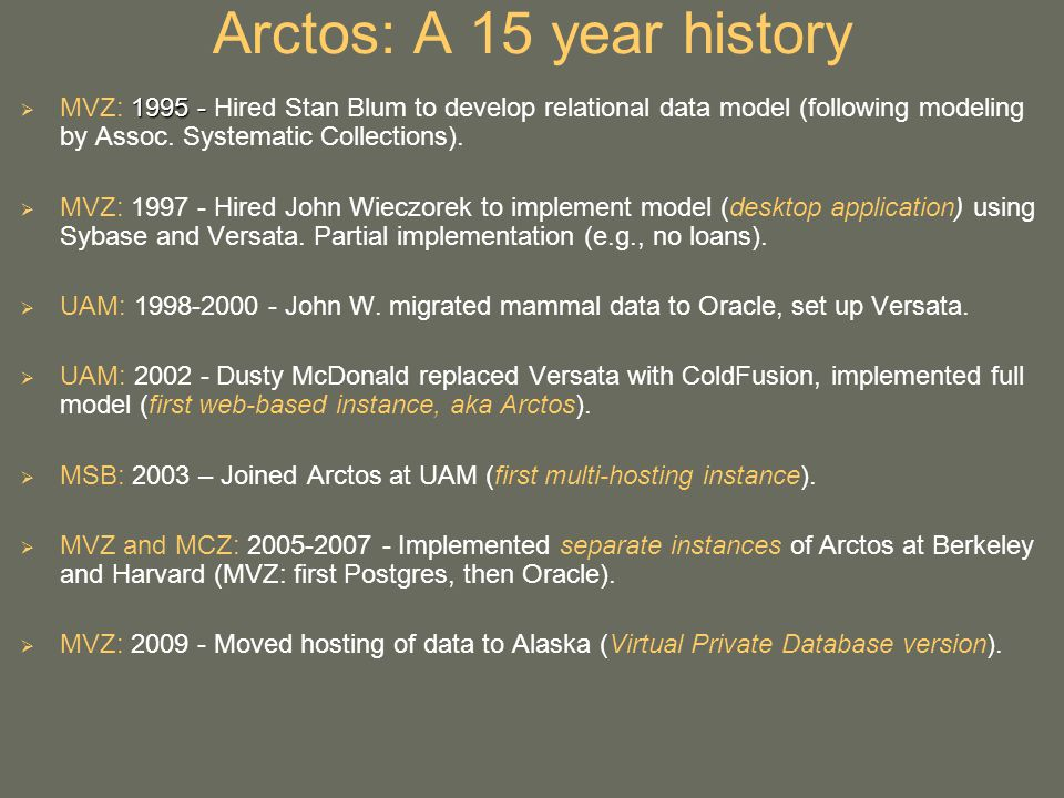 Arctos: A 15 year history 1995 - MVZ: 1995 - Hired Stan Blum to develop relational data model (following modeling by Assoc.