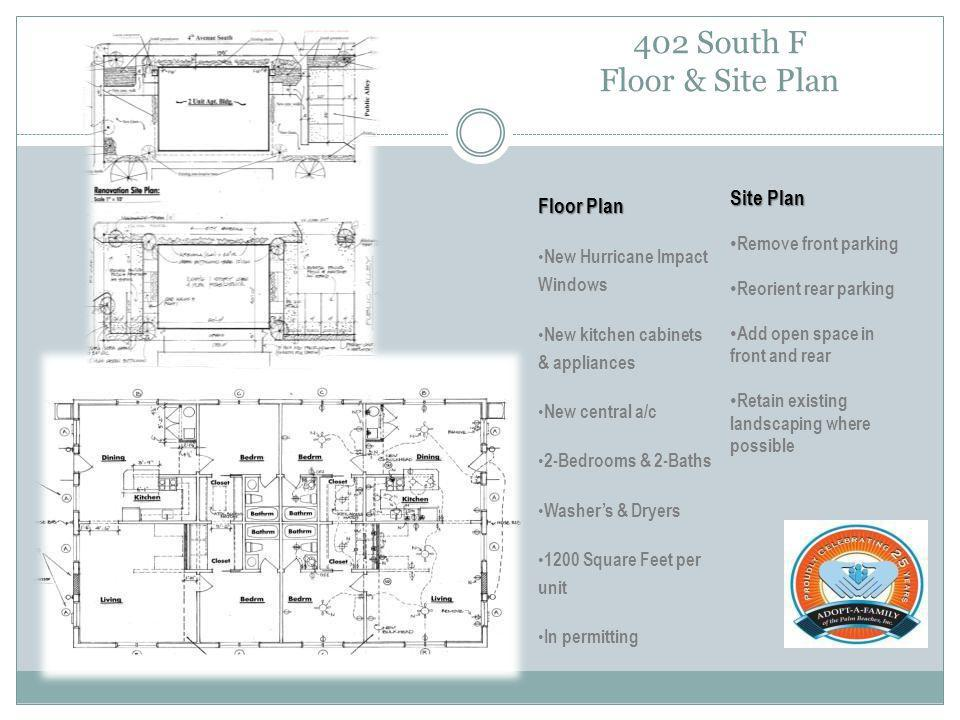 402 South F Floor & Site Plan Floor Plan New Hurricane Impact Windows New kitchen cabinets & appliances New central a/c 2-Bedrooms & 2-Baths Washers & Dryers 1200 Square Feet per unit In permitting Site Plan Remove front parking Reorient rear parking Add open space in front and rear Retain existing landscaping where possible
