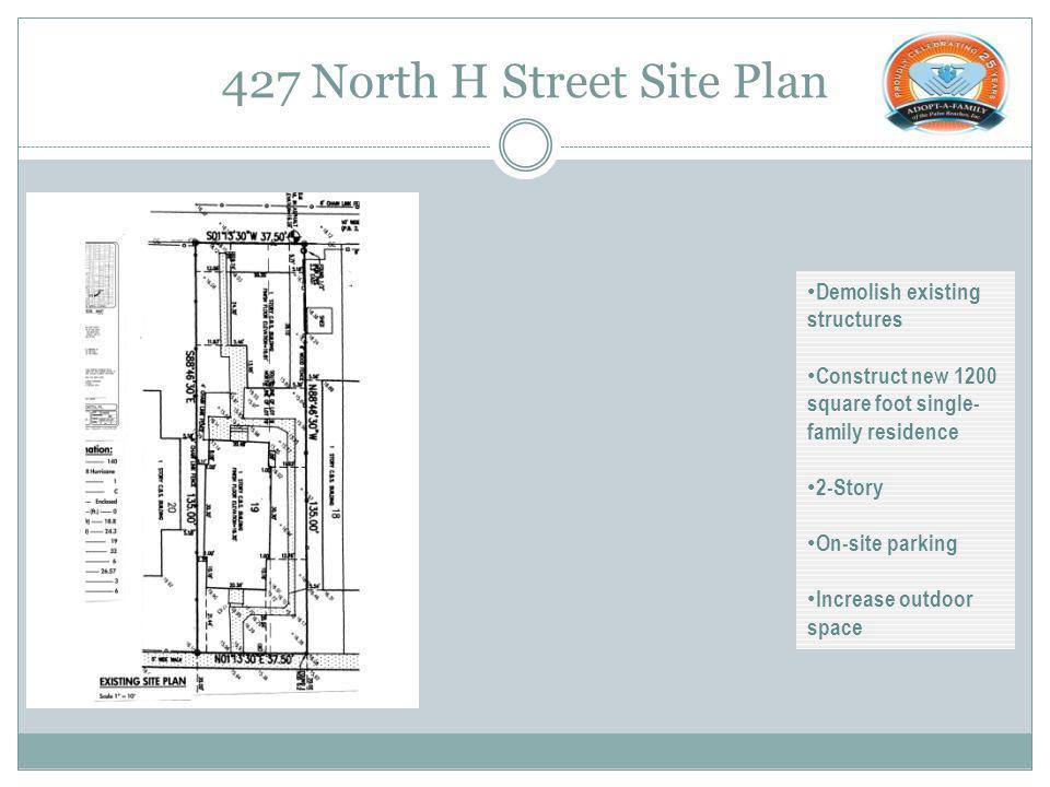427 North H Street Site Plan Demolish existing structures Construct new 1200 square foot single- family residence 2-Story On-site parking Increase outdoor space