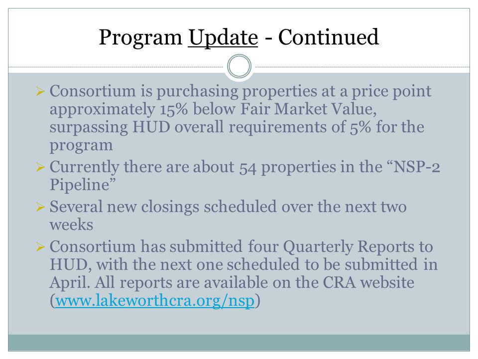Program Update - Continued Consortium is purchasing properties at a price point approximately 15% below Fair Market Value, surpassing HUD overall requirements of 5% for the program Currently there are about 54 properties in the NSP-2 Pipeline Several new closings scheduled over the next two weeks Consortium has submitted four Quarterly Reports to HUD, with the next one scheduled to be submitted in April.