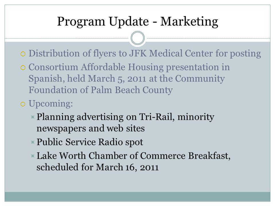 Program Update - Marketing Distribution of flyers to JFK Medical Center for posting Consortium Affordable Housing presentation in Spanish, held March 5, 2011 at the Community Foundation of Palm Beach County Upcoming: Planning advertising on Tri-Rail, minority newspapers and web sites Public Service Radio spot Lake Worth Chamber of Commerce Breakfast, scheduled for March 16, 2011