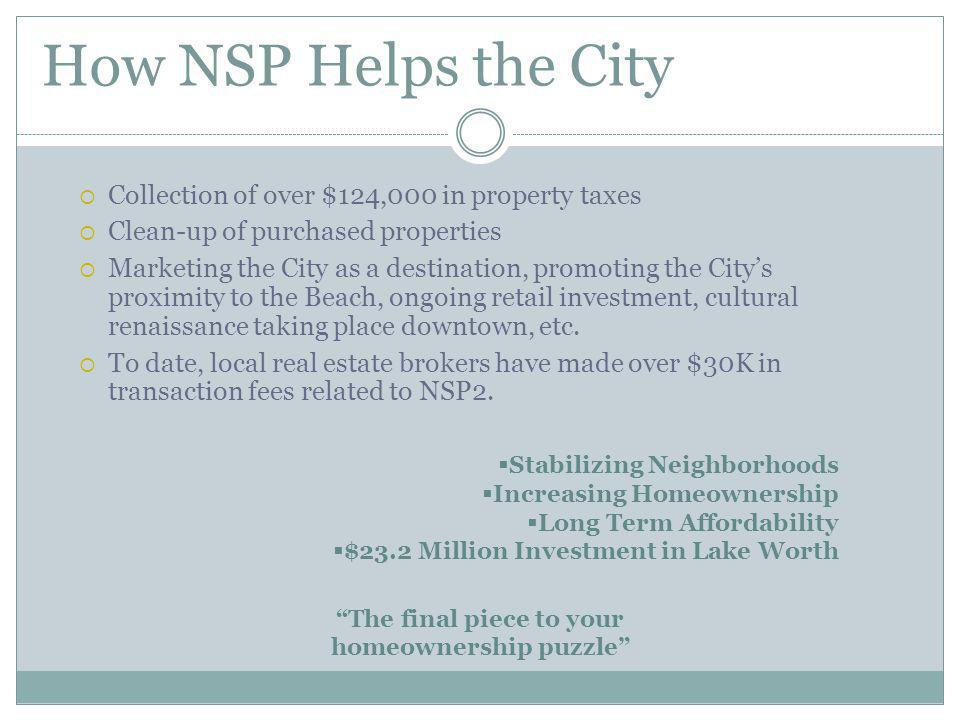 How NSP Helps the City Collection of over $124,000 in property taxes Clean-up of purchased properties Marketing the City as a destination, promoting the Citys proximity to the Beach, ongoing retail investment, cultural renaissance taking place downtown, etc.