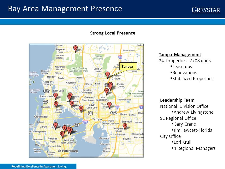 greystar.com Strong Local Presence Tampa Management 24 Properties, 7708 units Lease-ups Renovations Stabilized Properties Leadership Team National Div