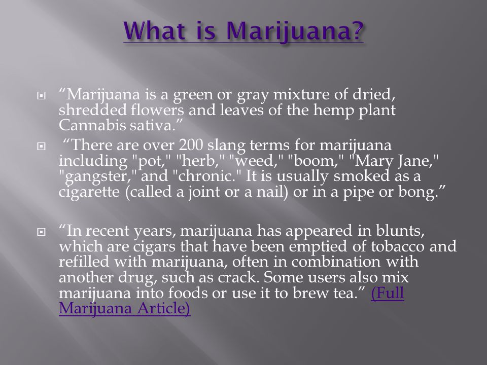 Marijuana is a green or gray mixture of dried, shredded flowers and leaves of the hemp plant Cannabis sativa.
