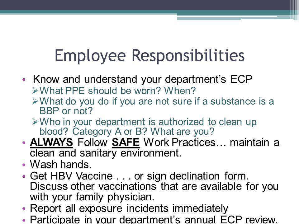 Employee Responsibilities Know and understand your departments ECP What PPE should be worn? When? What do you do if you are not sure if a substance is