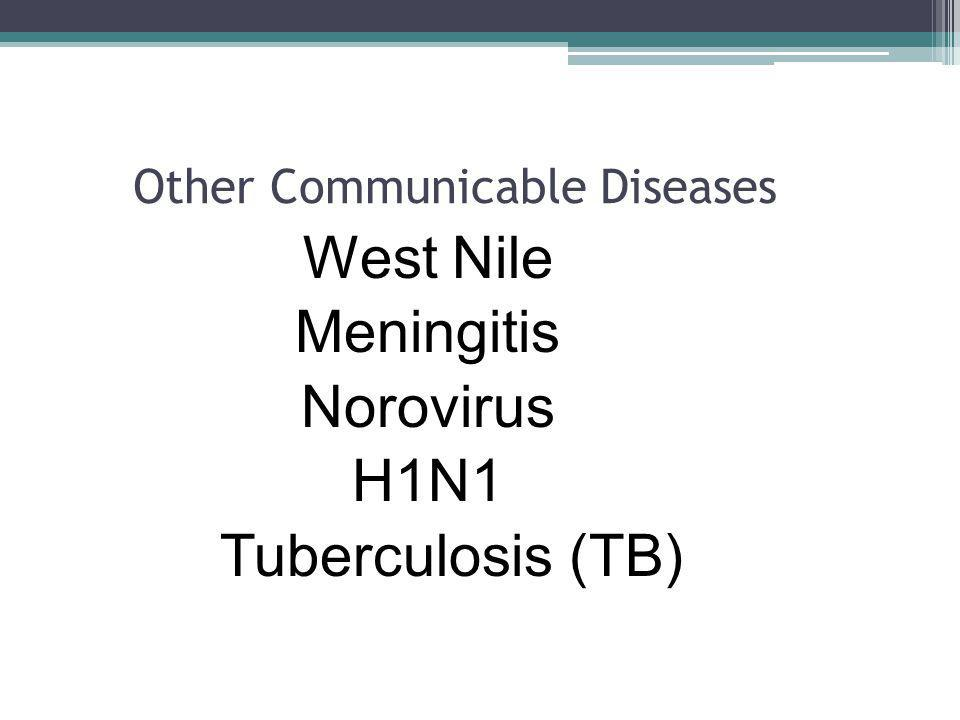 Other Communicable Diseases West Nile Meningitis Norovirus H1N1 Tuberculosis (TB)