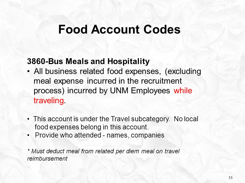 33 Food Account Codes 3860-Bus Meals and Hospitality All business related food expenses, (excluding meal expense incurred in the recruitment process)
