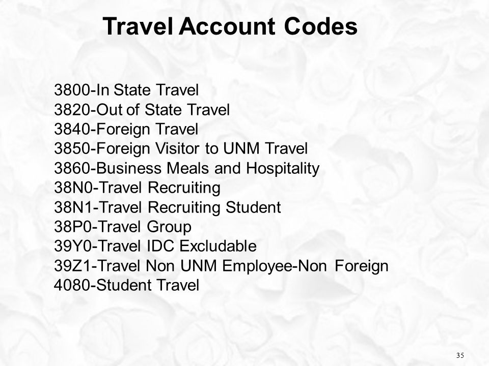 35 Travel Account Codes 3800-In State Travel 3820-Out of State Travel 3840-Foreign Travel 3850-Foreign Visitor to UNM Travel 3860-Business Meals and H