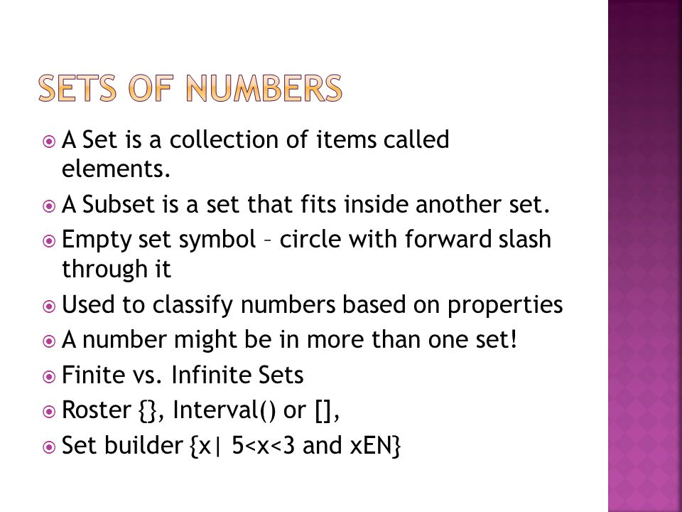 A Set is a collection of items called elements. A Subset is a set that fits inside another set.
