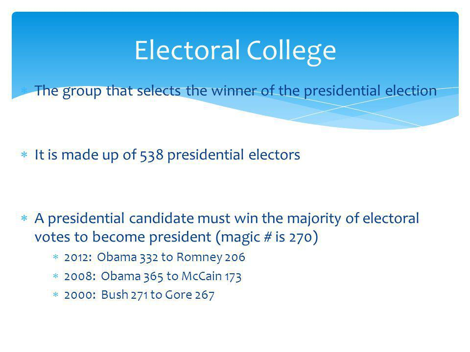 The group that selects the winner of the presidential election It is made up of 538 presidential electors A presidential candidate must win the majority of electoral votes to become president (magic # is 270) 2012: Obama 332 to Romney 206 2008: Obama 365 to McCain 173 2000: Bush 271 to Gore 267 Electoral College