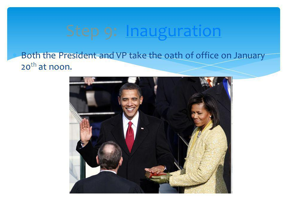 Both the President and VP take the oath of office on January 20 th at noon.