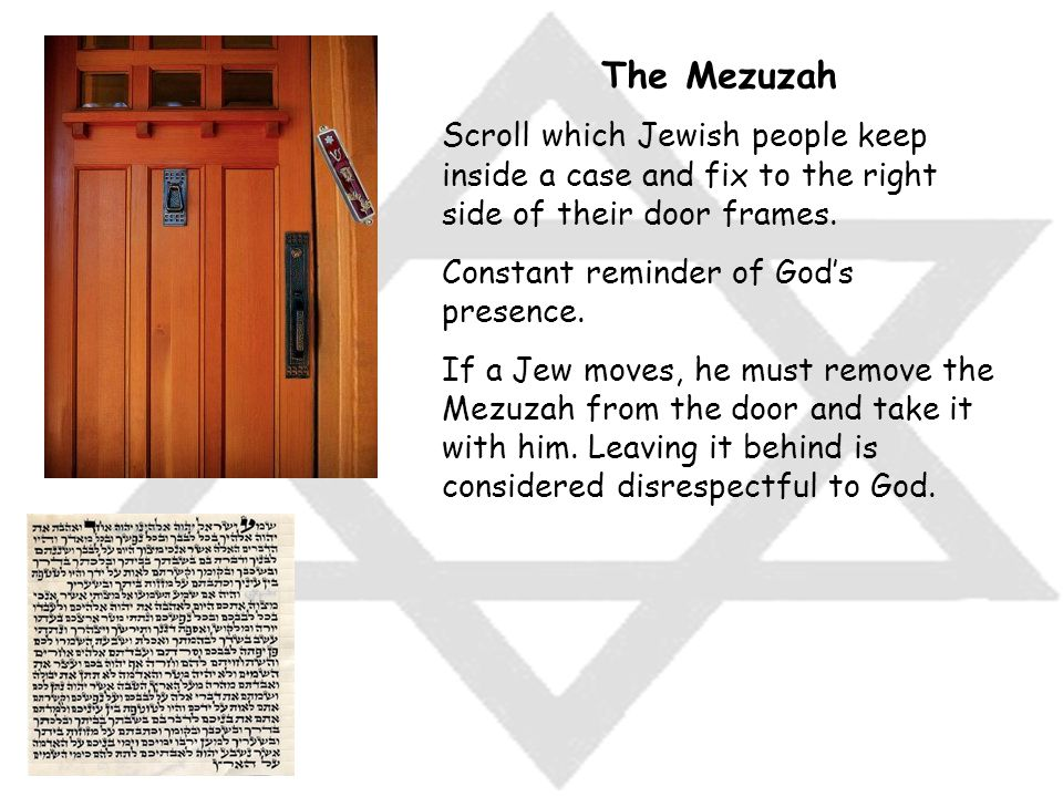 The Mezuzah Scroll which Jewish people keep inside a case and fix to the right side of their door frames.