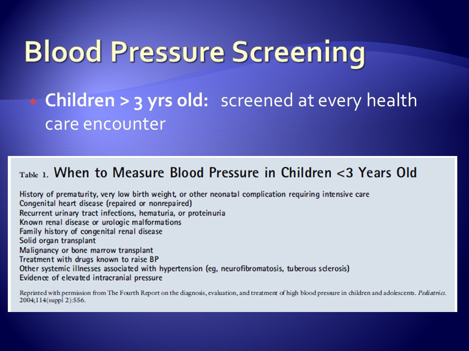 Children > 3 yrs old: screened at every health care encounter