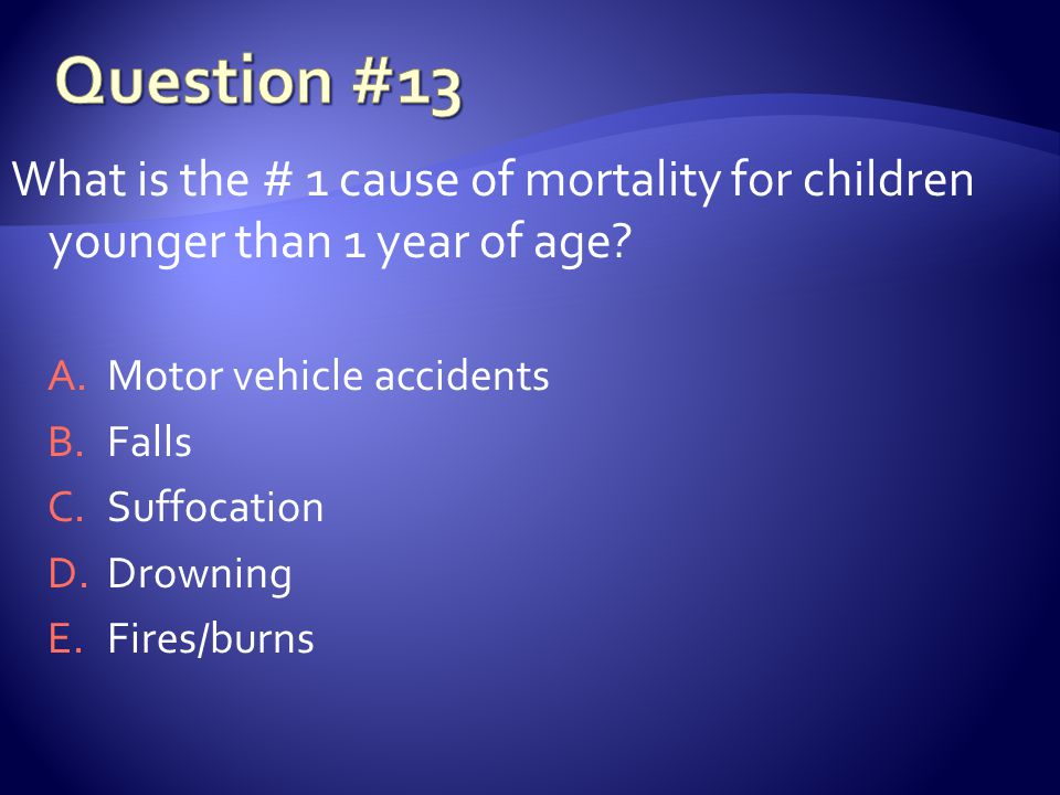 What is the # 1 cause of mortality for children younger than 1 year of age.